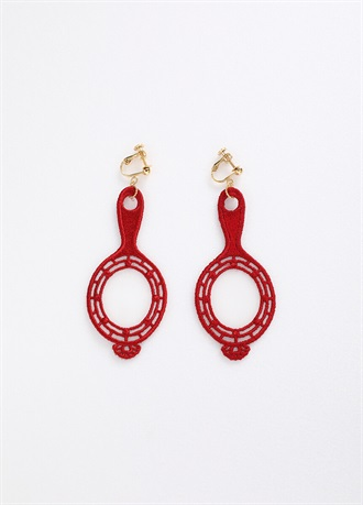 BANSAN clip-on earrings/earrings Red